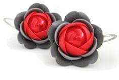 Troli Czerwono-szary wisiorkiKolczyki z perłowymi kwiatami