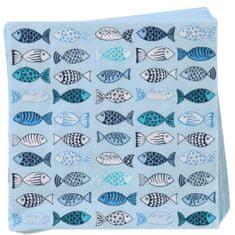 Butlers APRÉS Papírové ubrousky ryby - modrá