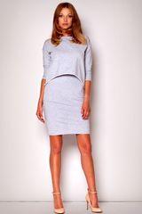 Figl Dámské šaty M206 grey + dárek zdarma