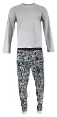 Guess Pánské pyžamo U91X02 JR03O - L999 šedočerná - Guess