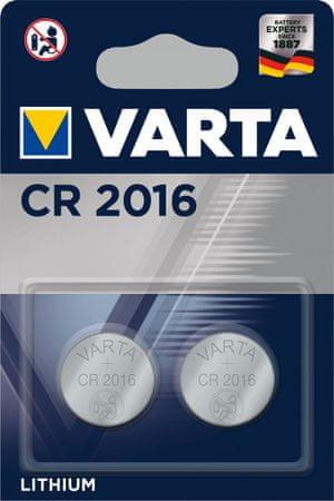 Varta CR 2016 2pack 6016101402 litijeva baterija, 2 komada