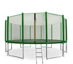 Aga Sport Pro Trampolina ogrodowa 460cm 15ft z siatką zewnętrzną, drabinką i torbą na buty - Dark Green