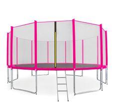Aga Sport Pro Trampolina ogrodowa 500cm 16ft z siatką zewnętrzną, drabinką i torbą na buty - Pink