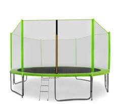 Aga Sport Pro Trampolina ogrodowa 430cm 14ft z siatką zewnętrzną, drabinką i torbą na buty - Light Green