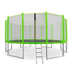 Aga Sport Pro Trampolina ogrodowa 460cm 15ft z siatką zewnętrzną, drabinką i torbą na buty - Light Green