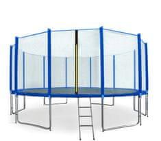 Aga Sport Pro Trampolina ogrodowa 500cm 16ft z siatką zewnętrzną, drabinką i torbą na buty - Blue