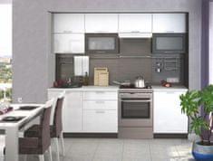 Kuchyně FINTONA 180/240 cm bez pracovní desky, wenge/bílý lesk