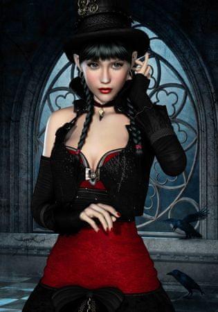 Grafika Gothic: Woman with raven II /0095/ 1000 dielikov