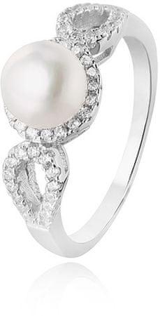 Beneto Srebrny pierścionek z kryształkami i właściwa perła AGG205 (obwód 52 mm) srebro 925/1000