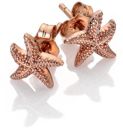 Hot Diamonds Roza pozlačeni uhani z originalnimi diamanti Daisy DE603 srebro 925/1000