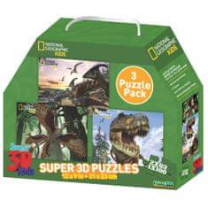 National Geographic sestavljanka 3D, dinozavri set 3/1 63 in 100 delna, 31x23cm