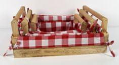 DUE ESSE Sada 3 ks dřevěných bedýnek s uchy, káro látka