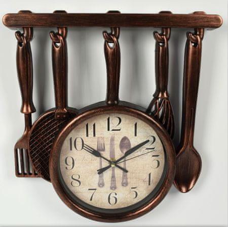 DUE ESSE Nástěnné retro hodiny kuchyňské náčiní medená