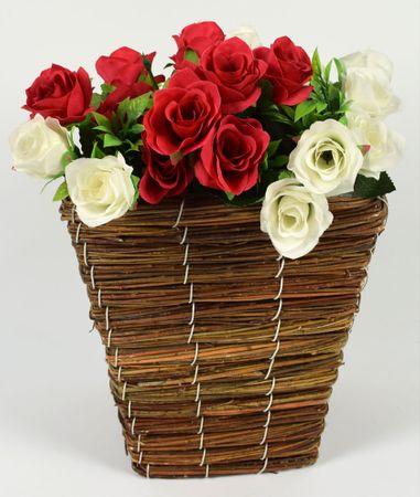 DUE ESSE Proutěný hranatý květináč 18 x 18 cm, hnědý