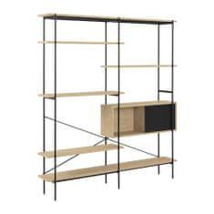 Design Scandinavia Policový regál / knihovna Glamis, 188 cm, dub/černá