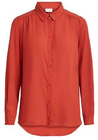 VILA Dámska košeľa VILUCY L / S BUTTON SHIRT - Noosa Ketchup (Veľkosť XS)