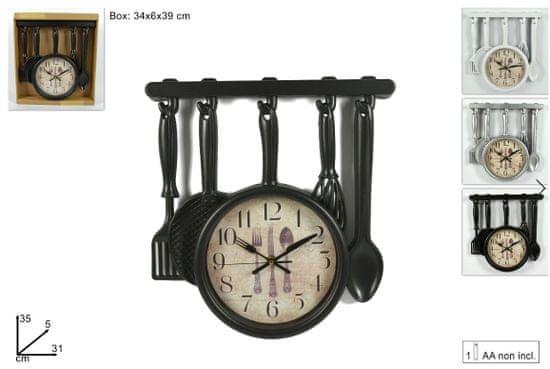 DUE ESSE Nástěnné hodiny kuchyňské náčiní, černá