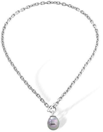 Majorica Ocelový náhrdelník s tmavou barokní perlou 15288.03.6.000.010.1
