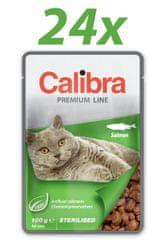 Calibra Sterilised, mokra hrana za odrasle mačke, losos, 24 x 100 g