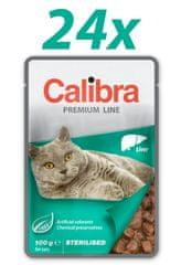 Calibra Sterilised, mokra hrana za mačke, jetra, 24 x 100 g