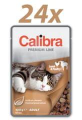 Calibra Premium Adult, mokra hrana za mačke, jagnje in perutnina, 24 x 100 g