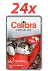 Calibra Premium Adult, mokra hrana za mačke, piščanec in govedina, 24 x 100 g