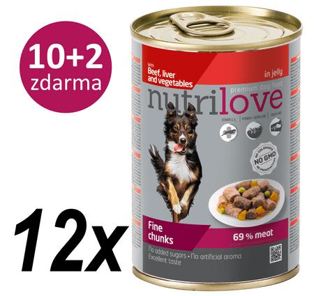 Nutrilove Dog chunks, jelly BEEF LIVER VEGIE Kutyatáp - 12x415g