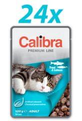 Calibra Premium Adult, mokra hrana za mačke, postrv in losos, 24 x 100 g