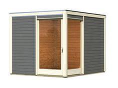 KARIBU drevený domcek KARIBU QUBU ECK 83315 tm. sivý