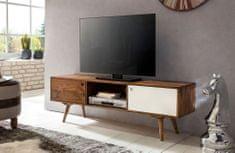 Bruxxi TV stolík s 2 dverami Repa, 140 cm, masív, Sheesham, biela