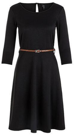 Vero Moda Dámské šaty VMVIGGA FLAIR 3/4 SLEEVE DRESS Black (Velikost XS)