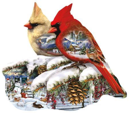 SunsOut Puzzle 800 db Lori Schory - Winter Cardinals