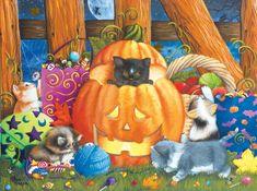 SunsOut Puzzle 1000 dílků Ashley Davis - Halloween Surprise