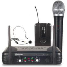 Skytec Skytec UHF mikrofonní set 2 kanálový, 1x ruční mikrofon, 1x náhlavní mikrofon