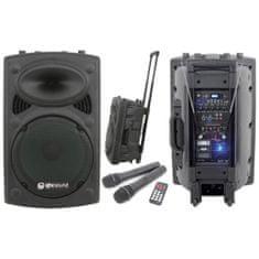 """QTX  QR-15, mobilní 15"""" zvukový systém MP3/2x VHF, 250W"""