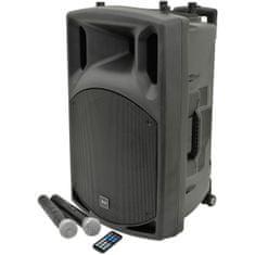 """QTX  QX-15, mobilní 15"""" zvukový systém MP3/BT/FM/2x VHF, 250W"""