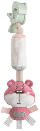 Canpol babies Pastel Friends plüssjáték csengővel és csattal rózsaszín maci