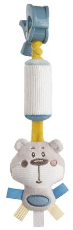 Canpol babies Pastel Friends plüssjáték csengővel és csattal szürke maci