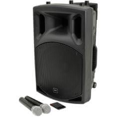 """QTX  QX-12 PLUS, mobilní 12"""" řečnický a zvukový systém MP3/BT/FM/2x UHF"""
