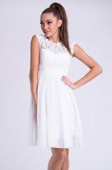 Stylomat Krátké společenské šaty s krajkovým vrškem bílé