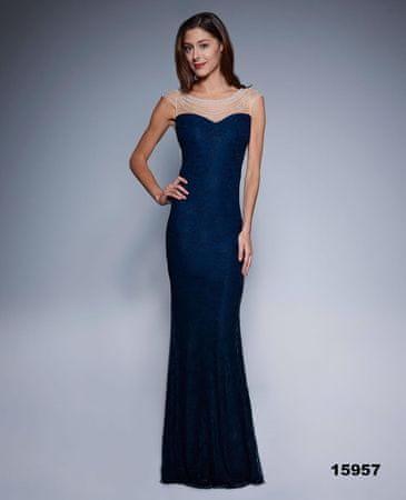 Stylomat Večerní šaty s perlovou aplikací modré, velikost M.