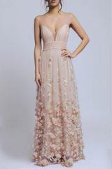Stylomat Večerní šaty s květy béžové