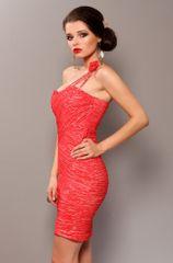 Stylomat Dámské pouzdrové šaty na jedno rameno růžové