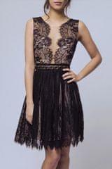 Stylomat Krátké společenské šaty s krajkovou sukní černé