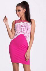 Stylomat Úzké růžové šaty s krajkou