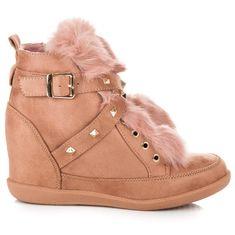 Semišové ružové členkové topánky s kožušinkou a prackami
