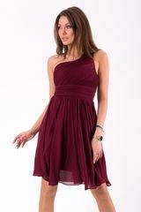 Stylomat Krátké společenské šaty na jedno rameno vínové