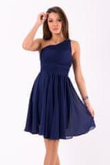 Stylomat Krátké společenské šaty na jedno rameno tmavě modré