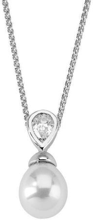 Majorica Srebrna ogrlica z biserom in kamnom 12268.01.2.000.010.1 (veriga, obesek) srebro 925/1000