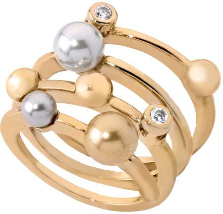 Majorica Pozłacany pierścionek z perłami 10554.34.1.911.010.1 (obwód 59 mm) srebro 925/1000